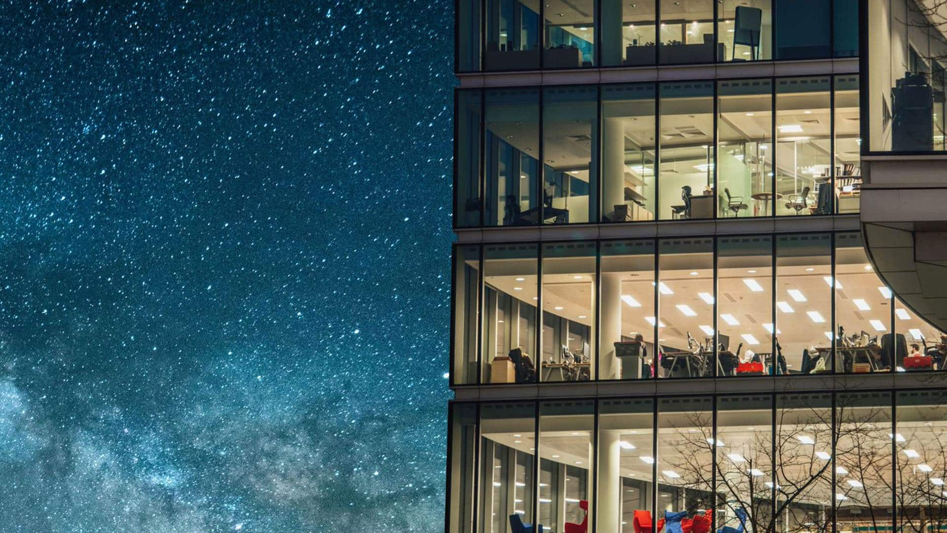 glass office building at night