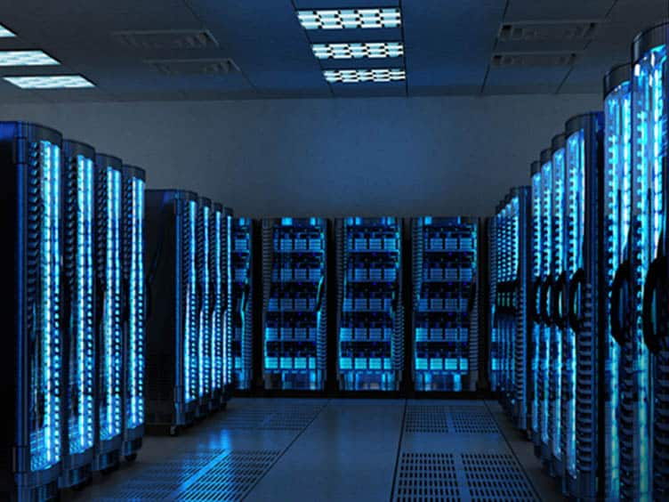 Data center with servers