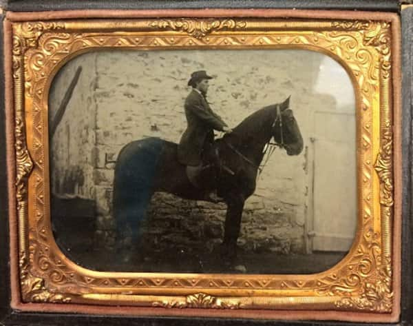 "This daguerreotype of Warren Johnson on his horse ""Fox"" dates from the 1860s and is the earliest known image of Johnson."