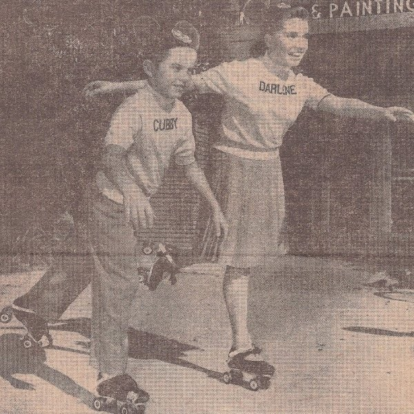 TV Mouseketeers Cubby and Darlene demonstrate their new Globe-Union roller skates in 1957.
