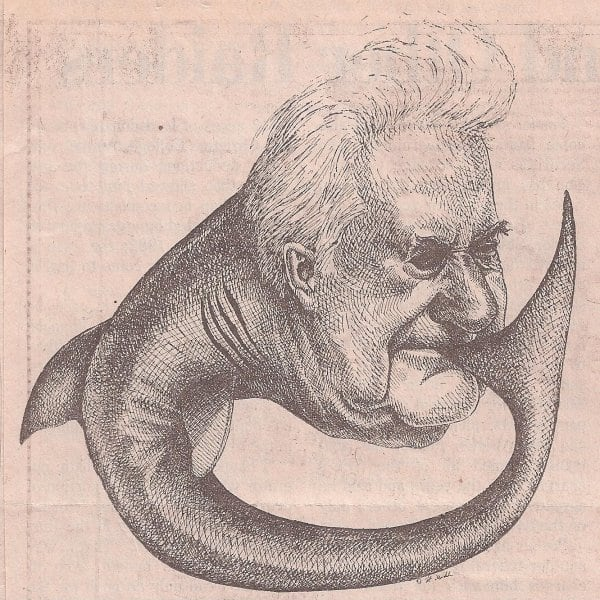 Victor Posner is caricatured here as a shark biting its own tail.