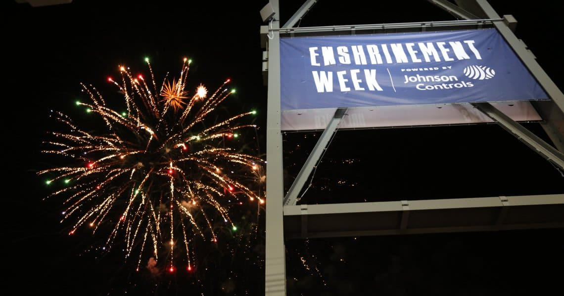 Fireworks light the sky above Tom Benson Hall of Fame Stadium during the 2018 Enshrinement Week Powered by Johnson Controls.