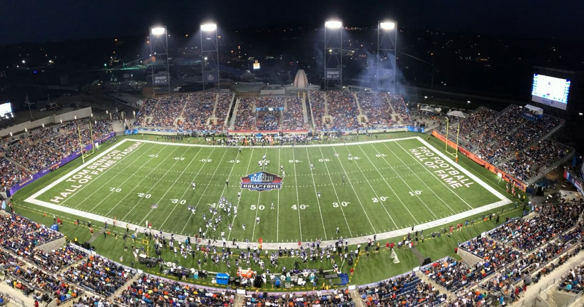 The Baltimore Ravens battled the Chicago Bears in the annual Pro Football Hall of Fame game Aug. 2, 2018, at Tom Benson Hall of Fame Stadium at the Johnson Controls Hall of Fame Village. The game, in which the Ravens prevailed, 17-16, was part of Enshrinement Week Powered by Johnson Controls.