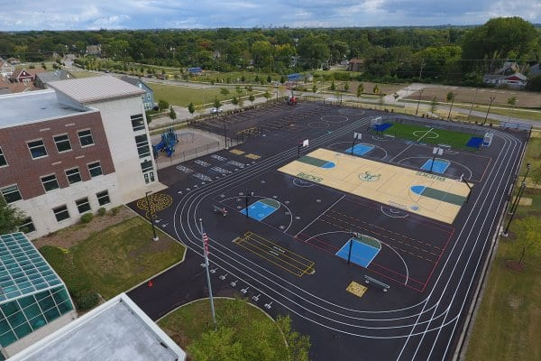 The Milwaukee Bucks and Johnson Controls held a grand opening ceremony on Sept. 7, 2017, for a $150,000 multi-sport complex on the campus of Browning Elementary School and Silver Spring Neighborhood Center in Milwaukee's Westlawn neighborhood.