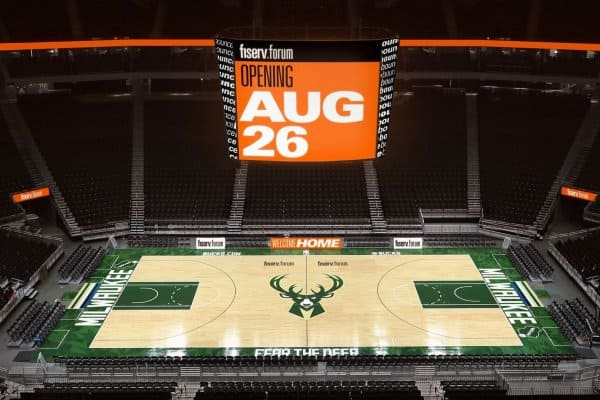 The new center-hung, full HD scoreboard at the Fiserv Forum is one of the top scoreboards in size in the NBA. (Photo credit: Gary Dineen)