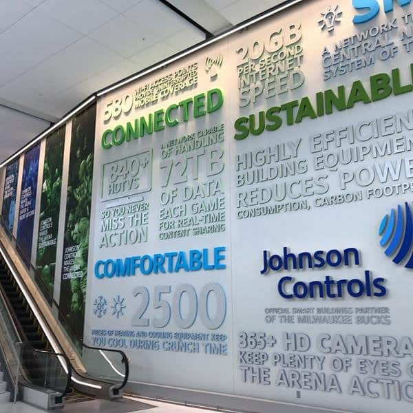 The Johnson Controls entrance at the Fiserv Forum.