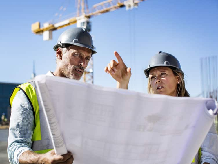 Project engineer and architect at a construction site